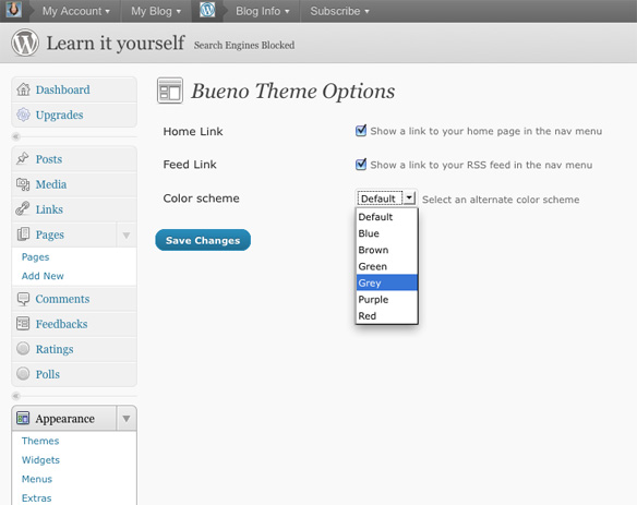 Colour scheme in the Bueno Theme Options