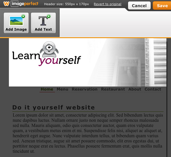Use Weebly image perfect to upload your header image and insert the logo