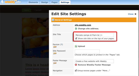 Edit Site Settings and turn off the site title
