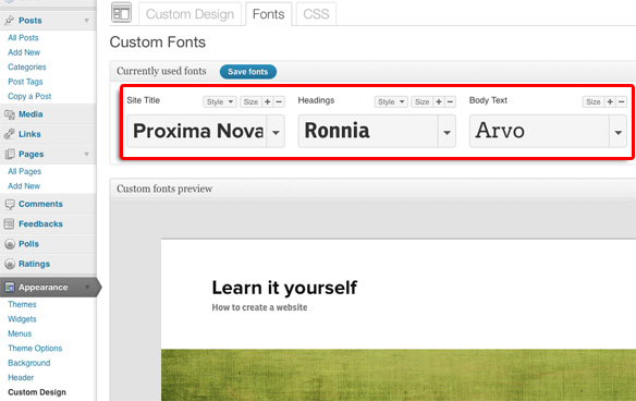 custom fonts menu on www.wordpress.com
